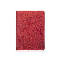 """Красная дизайнерская кожаная обложка для паспорта с отделением для карт, коллекция """"Let's Go Travel"""", фото 1"""