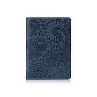 """Дизайнерская кожаная обложка для паспорта с отделением для карт голубого цвета, коллекция """"Mehendi Art"""", фото 1"""