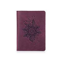"""Фиолетовая дизайнерская кожаная обложка для паспорта с отделением для карт, коллекция """"Mehendi Classic"""", фото 1"""
