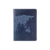 """Дизайнерская кожаная обложка для паспорта с отделением для карт голубого цвета, коллекция """"World Map"""", фото 1"""
