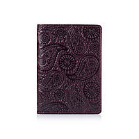 Оригинальная фиолетовая дизайнерская кожаная обложка для паспорта ручной работы с с отделом для ID документов, фото 1