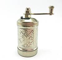 Ручная мельница для приправ и специй, Перцемолка 8х3.5см, цвет: Серебро