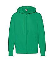 Мужская легкая толстовка с капюшоном на молнии зеленая 144-47