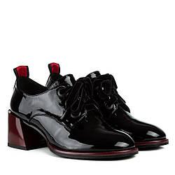 Туфли женские Brocoli (кожаные, черные с бордовыми элементами, на шнурках)