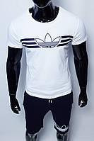 Костюм футболка с шортами мужской Adidas 200 белый с синим реплика