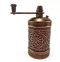 Ручная мельница для приправ и специй, Перцемолка 8х3.5см, цвет: Медь