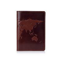 Оригінальна дизайнерська шкіряна обкладинка для паспорта ручної роботи коньячного кольору з відділом для ID документів, фото 1