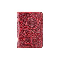"""Кожаная дизайнерская обложка-органайзер для ID паспорта и других документов красного цвета, коллекция """"Buta Art"""", фото 1"""