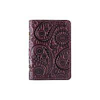 Дизайнерская фиолетовая обложка-органайзер для ID паспорта и других документов с глянцевой кожи, фото 1