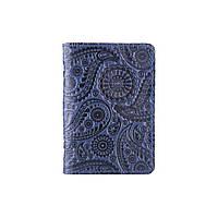 Дизайнерская обложка-органайзер для ID паспорта и других документов с глянцевой кожи голубого цвета, фото 1