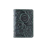 """Красивая зеленая кожаная обложка-органайзер для ID паспорта и других документов / карт, коллекция """"Buta Art"""", фото 1"""