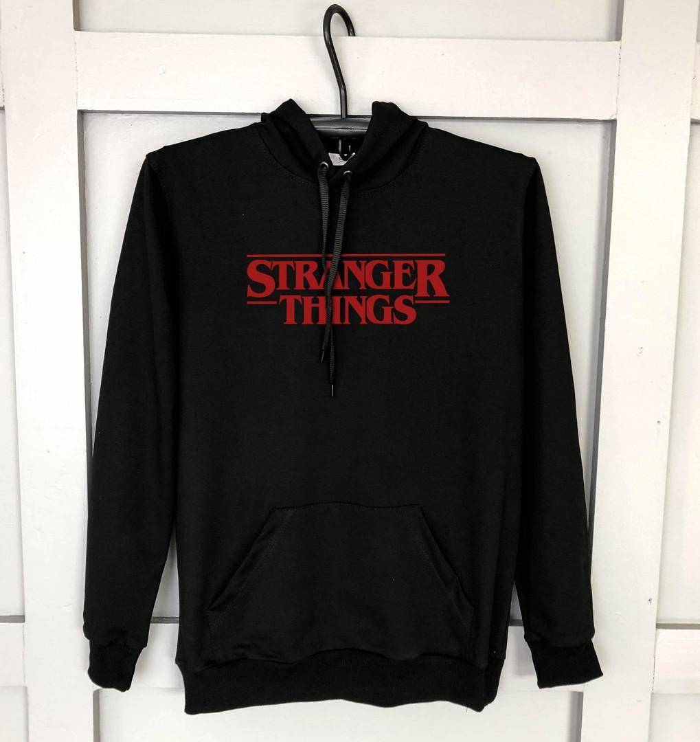 Худи мужское Stranger Things качественное удобное с капюшоном (черное), ТОП-реплика