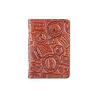 """Універсальна янтарна шкіряна обкладинка-органайзер для ID паспорта / карт, колекція """"let's Go Travel"""", фото 1"""