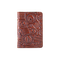 """Красивая кожаная обложка-органайзер для ID паспорта и других документов / карт, коньячного цвета, коллекция """"Let's Go Travel"""", фото 1"""