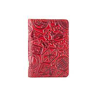 """Кожаная дизайнерская обложка-органайзер для ID паспорта и других документов красного цвета, коллекция """"Let's Go Travel"""", фото 1"""