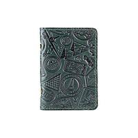"""Красивая зеленая кожаная обложка-органайзер для ID паспорта и других документов / карт, коллекция """"Let's Go Travel"""", фото 1"""