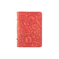 """Дизайнерская обложка-органайзер для ID паспорта / карт с художественным тиснением """"Let's Go Travel"""", красного цвета, фото 1"""