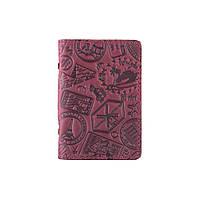 """Дизайнерська шкіряна обкладинка-органайзер для ID паспорта та інших документів фіолетового кольору, колекція """"let's Go Travel"""", фото 1"""
