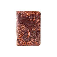 """Универсальная янтарная кожаная обложка-органайзер для ID паспорта / карт, коллекция """"Mehendi Art"""", фото 1"""