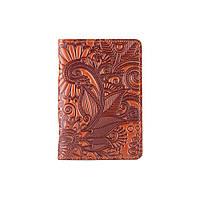 """Красивая кожаная обложка-органайзер для ID паспорта и других документов / карт, коньячного цвета, коллекция """"Mehendi Art"""", фото 1"""