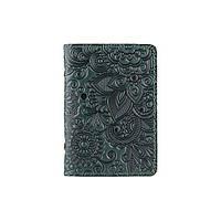 """Красивая зеленая кожаная обложка-органайзер для ID паспорта и других документов / карт, коллекция """"Mehendi Art"""", фото 1"""