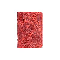"""Дизайнерская обложка-органайзер для ID паспорта / карт с художественным тиснением """"Mehendi Art"""", красного цвета, фото 1"""