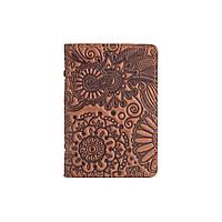 """Универсальная кожаная обложка-органайзер для ID паспорта / карт, темно рыжого цвета, коллекция """"Mehendi Art"""", фото 1"""