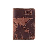 Обкладинка для паспорта з матовою натуральної шкіри кольору глини з художнім тисненням, фото 1