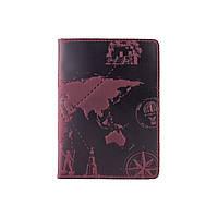 """Фиолетовая дизайнерская кожаная обложка для паспорта, коллекция """"7 wonders of the world"""", фото 1"""