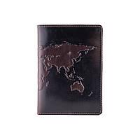 Красива коричнева дизайнерська обложна на паспорт з натуральної шкіри з художнім тисненням, фото 1