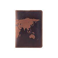 Обложка для паспорта с матовой натуральной кожи цвета глины с художественным тиснением, фото 1