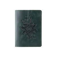 """Красива зелена обкладинка для паспорта з художнім тисненням""""Mehendi Classic"""", фото 1"""