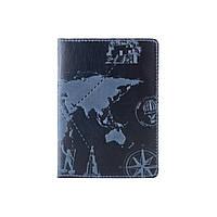"""Дизайнерская кожаная обложка для паспорта голубого цвета, коллекция """"7 wonders of the world"""", фото 1"""