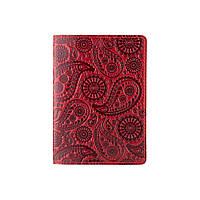 Красивая красная дизайнерская обложна на паспорт с натуральной кожи с художественным тиснением, фото 1