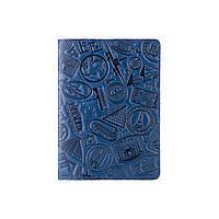 Голубая обложка для паспорта с натуральной глянцевой кожи с художественным тиснением, фото 1