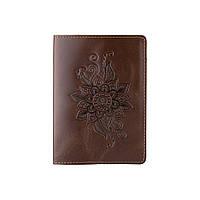 Оригінальна дизайнерська шкіряна обкладинка для паспорта ручної роботи оливкового кольору, фото 1