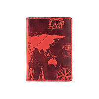 """Красная дизайнерская кожаная обложка для паспорта с отделением для карт, коллекция """"7 wonders of the world"""", фото 1"""