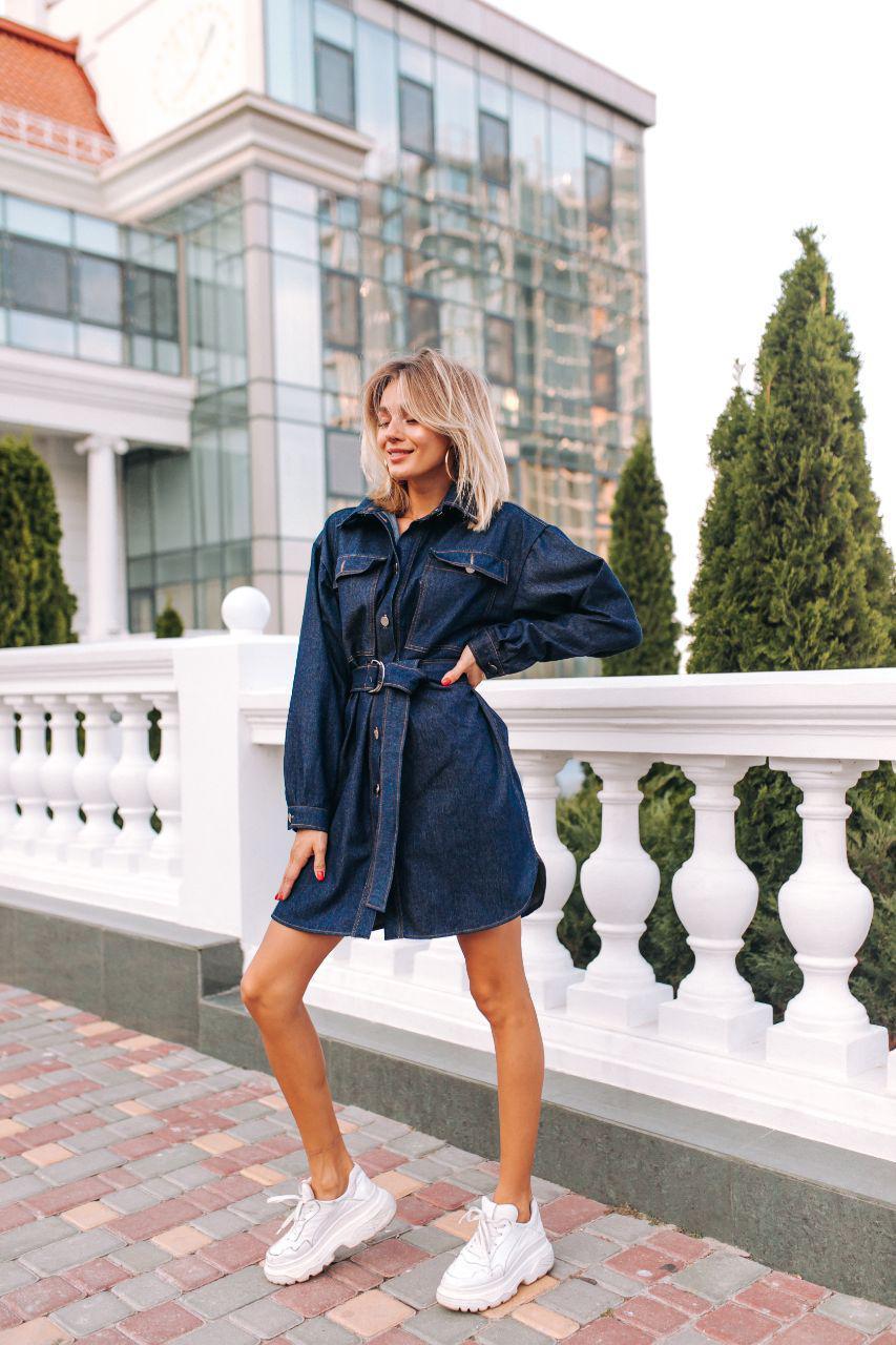 Женское джинсовое платье-рубашка (р.42-48)