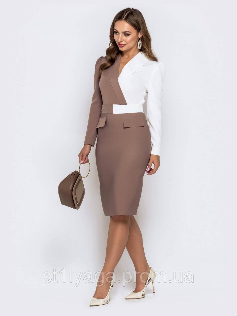 Элегантное офисное платье-футляр с длинным рукавом и клапанами на юбке