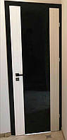 Двери Verto Элегант 1 Триплекс черный  цвет Дуб африканский + Кора береза, фото 1