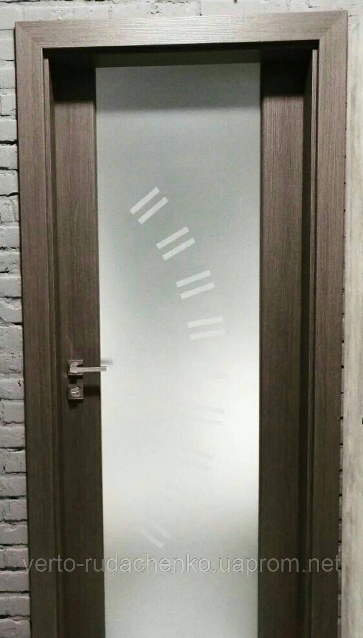 """Двери Verto Элегант 5 Триплекс черный  цвет Кора береза """"Verto-LINE 3D"""""""