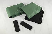Муфта рукавички варежки раздельные для рук зимние на коляску (зеленый)