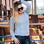 """Женский стильный вязаный свитер """"Lana"""" с V-вырезом и узором """"коса"""" (в расцветках), фото 6"""