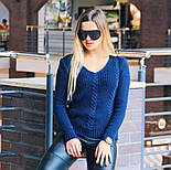 """Женский стильный вязаный свитер """"Lana"""" с V-вырезом и узором """"коса"""" (в расцветках), фото 4"""