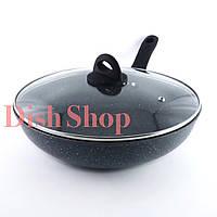 Сковорода-WOK с крышкой диаметр 28 см из литого алюминия с гранитным антипригарным покрытием Benson