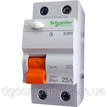 Пристрій захисного відключення(УЗО) Schneider ВД63 2п 63А 30мА
