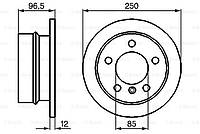 Задний тормозной диск (D258) MERCEDES SPRINTER 901/903/904 VW 28-46 2 LT 2.1D-2.9D 01.95-07.06