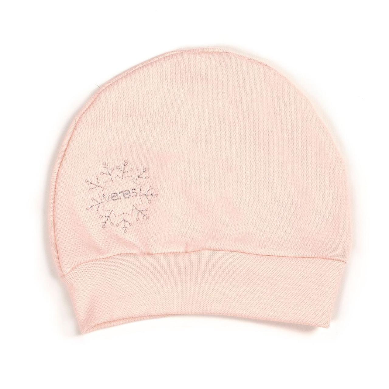 Шапочка Верес Snowflake  футер з начесом розовый