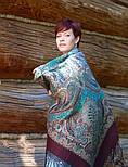 Губернаторский  1504-17, павлопосадский платок (шаль) из уплотненной шерсти с шелковой вязаной бахромой, фото 5