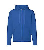 Мужская толстовка с капюшоном на молнии утепленная синяя 062-51